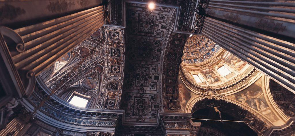 El techo de parte renacenitista de la iglesia Santa Maria delle Grazie