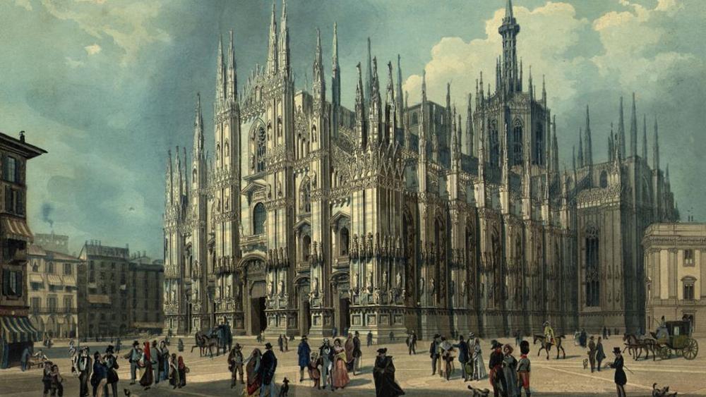 Dibujo antiguo del Duomo de Milán