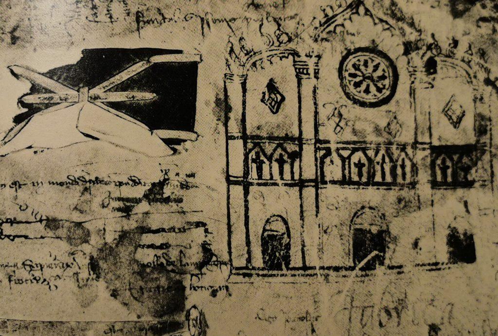 Antiguo dibujo de la fachada de la iglesia Santa Maria Maggiore
