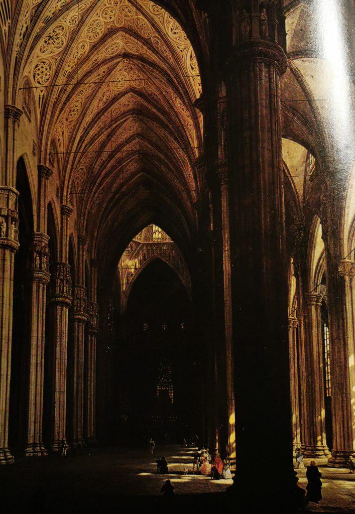Pintura de Giovanni Migliara, el interior del Duomo en el 1800