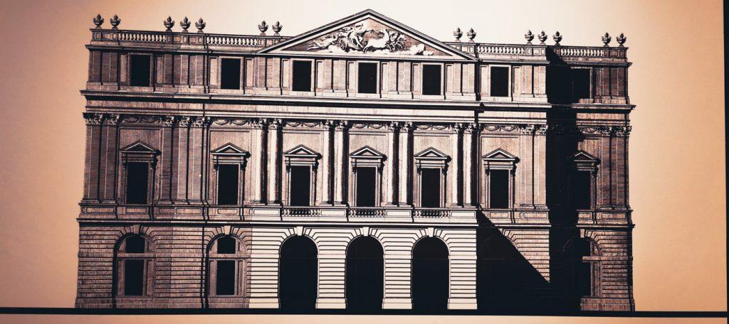 Dibujo del teatro La Scala, Museo de La Scala, Milán