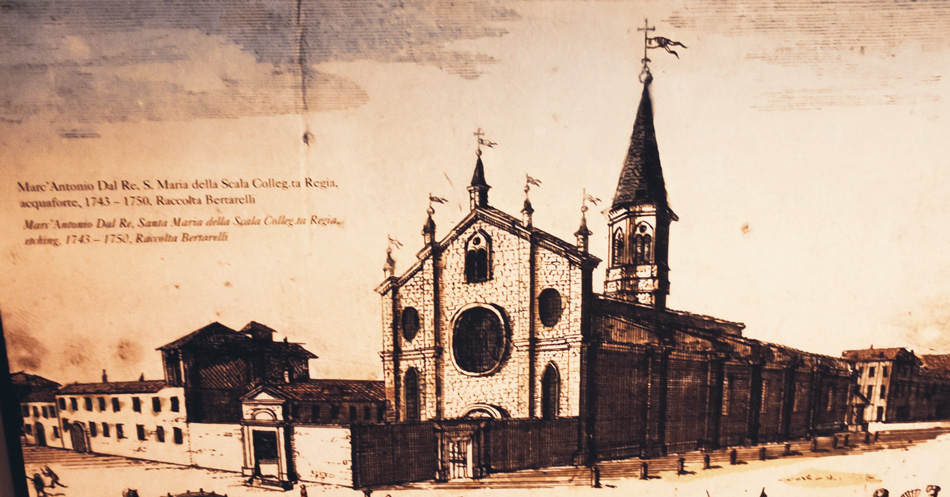 Dibujo de la Iglesia della Scala, Museo del Teatro de La Scala, Milán