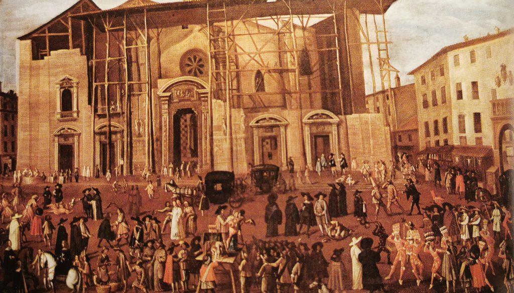 Dibujo de la construcción de la fachada del Duomo, fechado cerca del año 1600